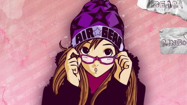 Аниме обои картинки Девушка в фиолетовых очках и фиолетовой шапке