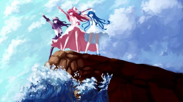 Аниме обои картинки Девушки из Вторжения кальмарки на краю скалы