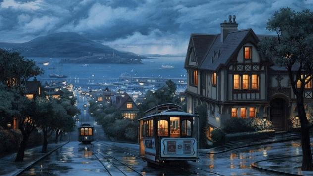 Аниме обои картинки Ночной город в аниме стиле