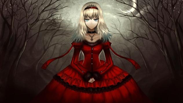 Аниме обои картинки Алиса в Стране Чудес, красное платье, ночь, луна