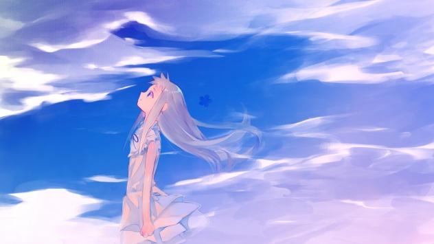 Аниме обои картинки Девушка из аниме Невиданный цветок смотрит на небо