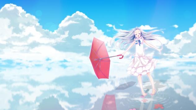 Аниме обои картинки Невиданный цветок, зонтик, небо, облака, Хонма Мэико