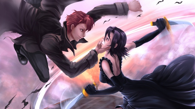 Аниме обои картинки нож, Шумиха!, красный окрас, платье, оружие, перчатки