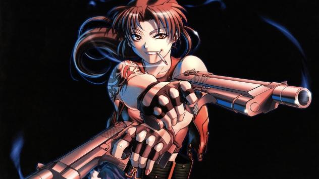 Аниме обои картинки Реви, ну прямо брутальная девушка с пистолетами
