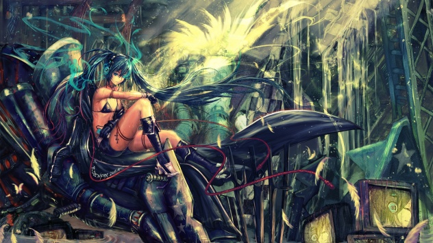 Аниме обои картинки Футуристическая девушка. Стрелок с Чёрной скалы.