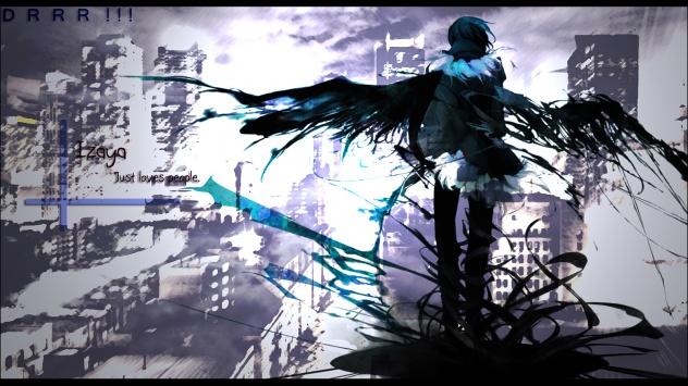 Аниме обои картинки Дюрарара!!, крылья, короткие волосы, черные волосы