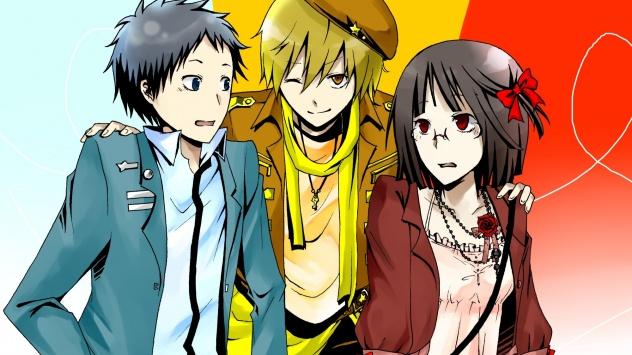 Аниме обои картинки Дюрарара!!, три друга Анри Сонохара, Масаоми Кида и Микадо Рюгаминэ