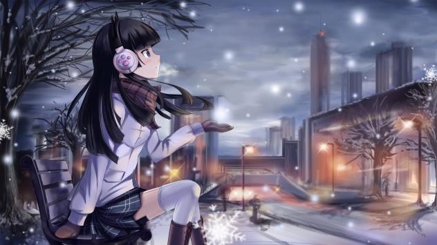 Аниме обои картинки Голубоглазая девушка в снежную зимнюю погоду