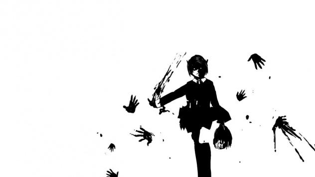Аниме обои картинки Эльфийская песнь, кровь, Elfen Lied, монохромный, белый