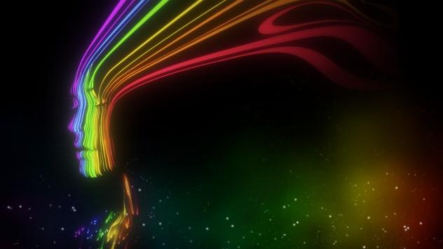 Аниме обои картинки Силуэт девушки радугой