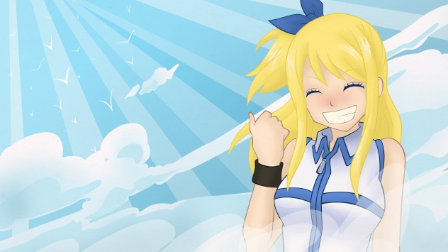 Аниме обои картинки Lucy Heartfilia, Фейри Тейл с милой улыбкой
