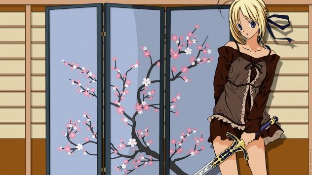 Аниме обои картинки У ширмы с сакурой.