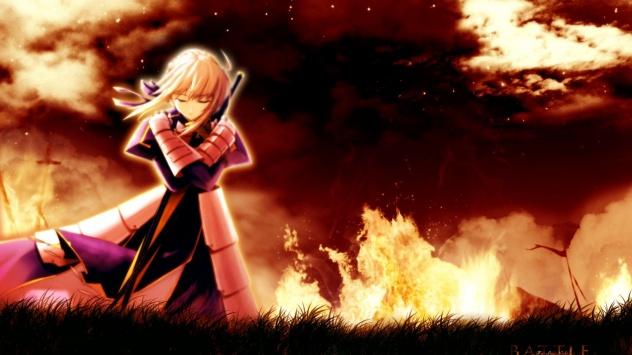 Аниме обои картинки Девушка в пламени.