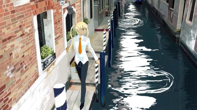 Аниме обои картинки Триэла идет по улице
