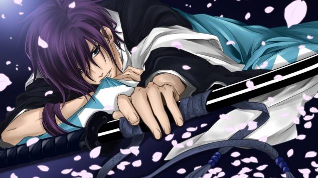 Аниме обои картинки Лепестки, оружие, Катана, японская одежда