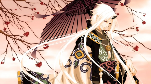 Аниме обои картинки японская одежда, рожки, седые волосы, мужчина, дерево