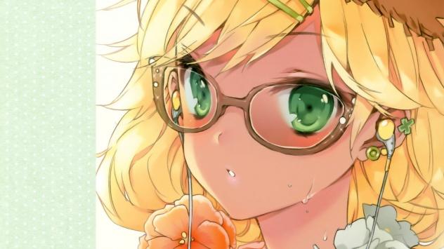 Аниме обои картинки Девушка в странных очках