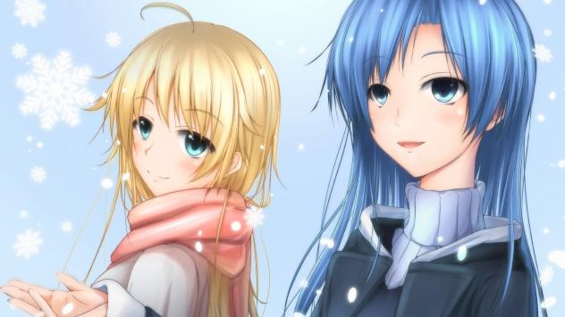 Аниме обои картинки Тихая Кисараги с подругой, Idolmaster