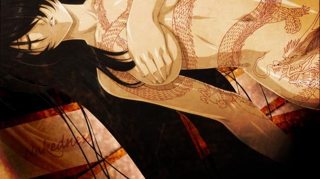 Аниме обои картинки Девушка с татуировкой дракона :3