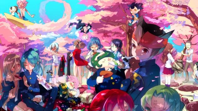 Аниме обои картинки Одиннадцать молний, цветущая сакура, Kiyama Hiroto