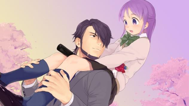 Аниме обои картинки униформа, пурпурные волосы, Kudou Michiya, цветущая сакура