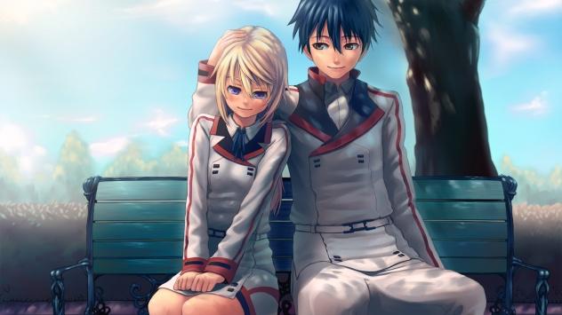 Аниме обои картинки Пара влюбленных на скамейке в парке. Бесконечные Небеса