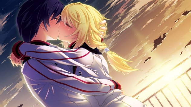 Аниме обои картинки Небо, светлые волосы, облака, поцелуй, Оримура Итика