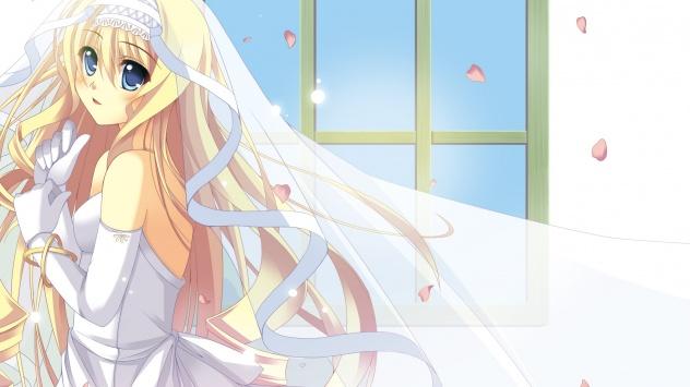 Аниме обои картинки Девушка в свадебном платье
