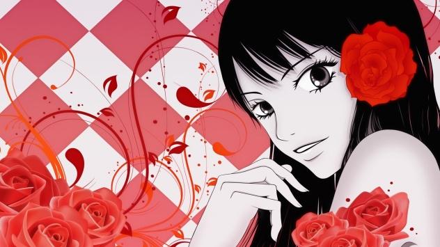 Аниме обои картинки Девушка с розой в волосах. Дотянуться до тебя