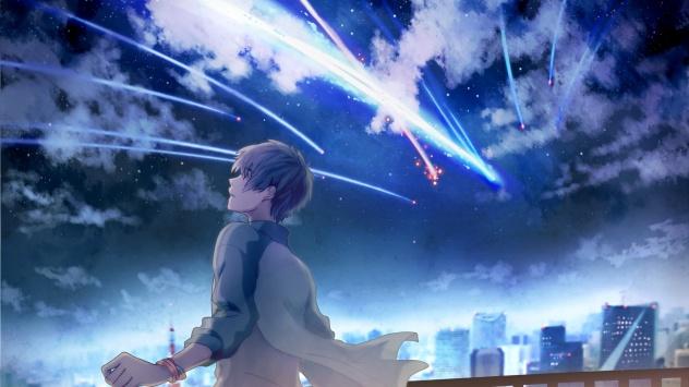 Аниме обои картинки облака, короткие волосы, ночь, здание, город, мужчина