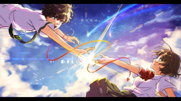 Аниме обои картинки автограф, Tachibana Taki, мужчина, Miyamizu Mitsuha