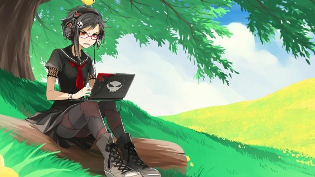 Аниме обои картинки Девочка сидит под деревом за нетбуком