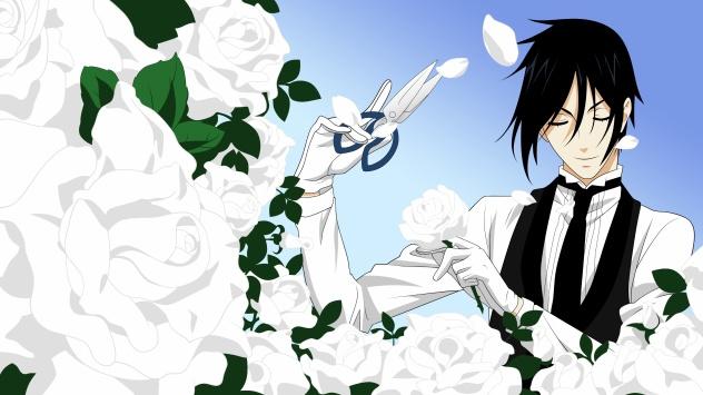 Аниме обои картинки  Демон-дворецкий, Себастьян Михаэлис с розами