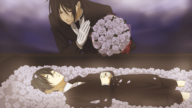 Аниме обои картинки Черные волосы, Демон-дворецкий, роза, Ciel Phantomhive, цветы