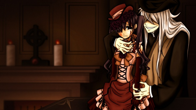 Аниме обои картинки Демон-дворецкий схватил готическую леди