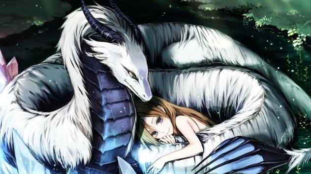Аниме обои картинки Китайский дракон в аниме стиле