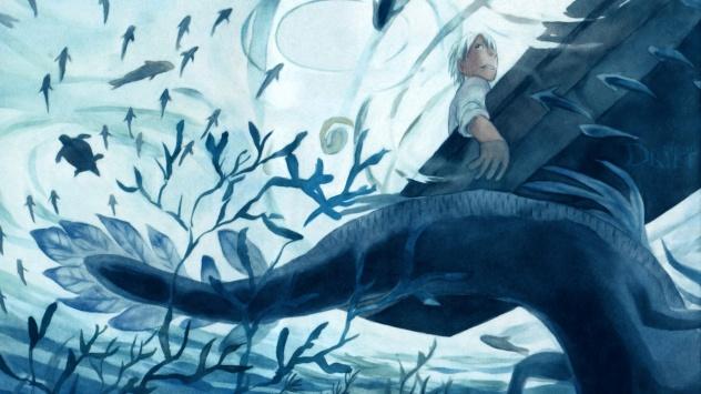 Аниме обои картинки Ginko, рыба, Мастер Муси, животные, водяной знак