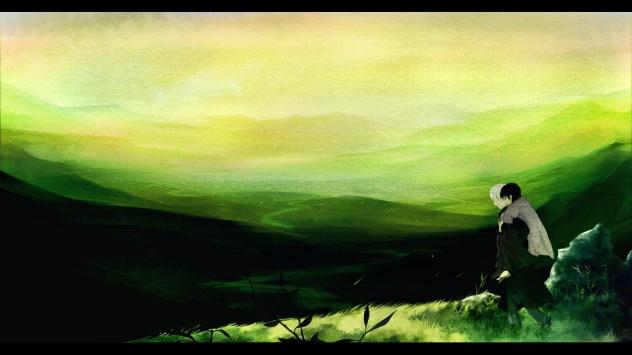 Аниме обои картинки Зеленый, Мастер Муси, трава, Гинко