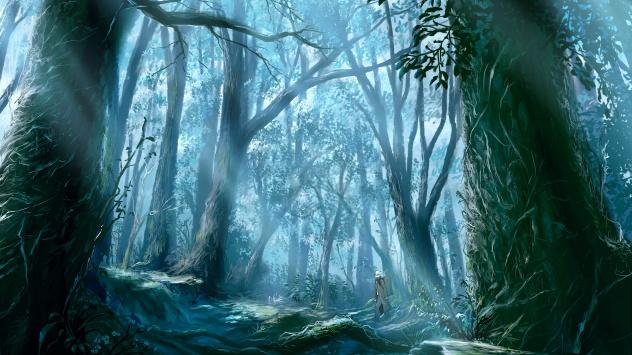 Аниме обои картинки Гинко в лесу. Мастер Муси