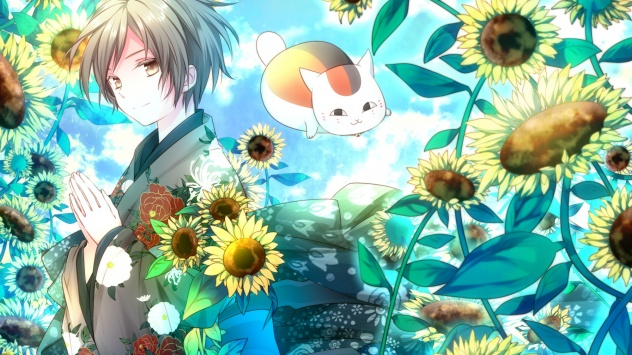 Аниме обои картинки Японская одежда, Natsume Takashi, животные, подсолнечник