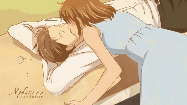 Аниме обои картинки Нодамэ Кантабиле, робкий поцелуй