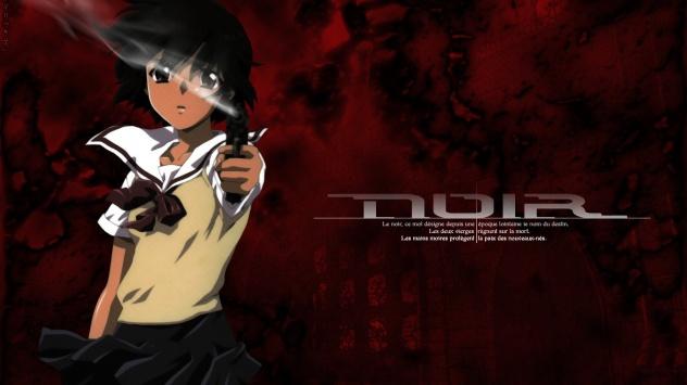 Аниме обои картинки Короткие волосы, Yuumura Kirika, Нуар, Noir, карие глаза, оружие, черные волосы, пистолет