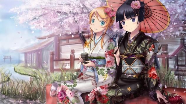 Аниме обои картинки Две девушки в японской одежде (кимоно)