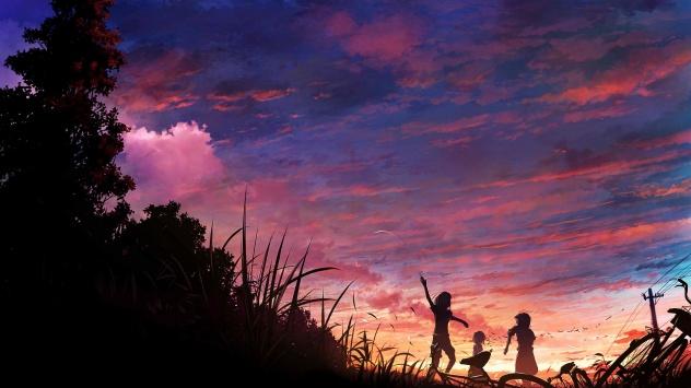 Аниме обои картинки Птица, живописный, трава, дерево, оригинал, животные