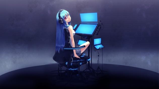 Аниме обои картинки Девочка за компьютером
