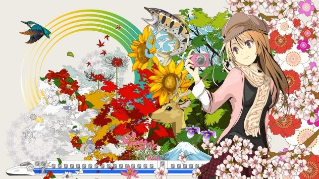 Аниме обои картинки Девушка в цветках сакуры.