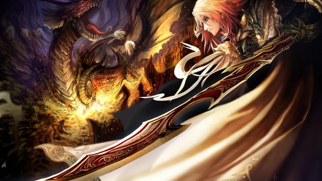 Аниме обои картинки Воин и дракон.