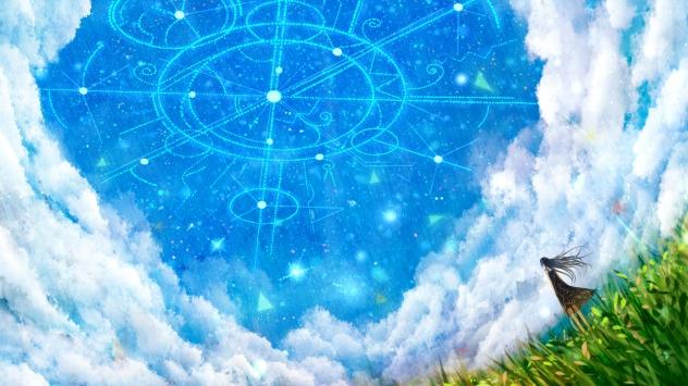 Аниме обои картинки Небо, платье, облака, трава, звезды