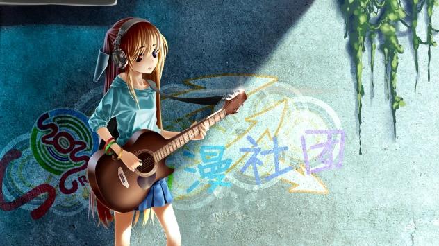 Аниме обои картинки Наушники, original, Меланхолия Харухи Судзумии, граффити, каштановые волосы