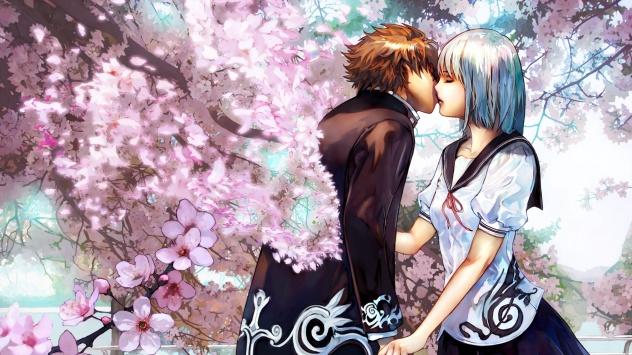 Аниме обои картинки Поцелуй под сакурой